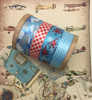 "Airplane Ribbon in red on a blue background with clouds on white 5/8"" single face satin ribbon, 10 Yards"