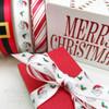 "Santa's Belt ribbon printed on 5/8"" yellow gold  single face satin, 10 Yards"
