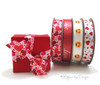 """Valentine Emoji Ribbon with smiley faces and heart eyes printed on 5/8"""" white single face satin, 10 yards"""