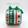 "Irish Flag Ribbon on 7/8"" White grosgrain, 10 yards"