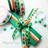 "St. Patricks Day Irish Argyle Ribbon on 5/8"" white single face satin, 10 Yards"