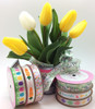 """Carrots in a Row Ribbon on 5/8"""" white single face satin, 10 Yards"""