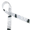 """Mummy themed ribbon on 5/8"""" white single face satin  with lots of white wrapping and two green eyes peering out from the dark is a fun addition to any Halloween party!"""