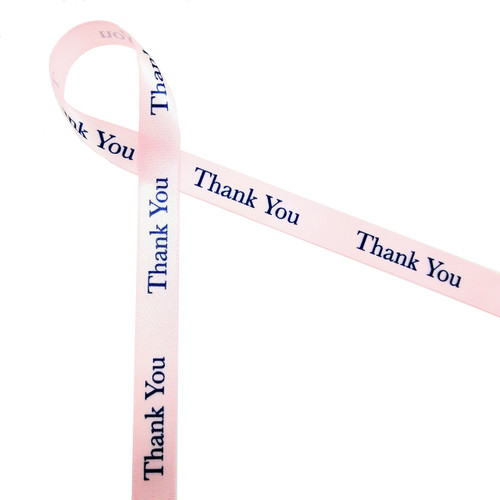 "Thank you in navy on lt. pink 5/8"" single face satin ribbon"