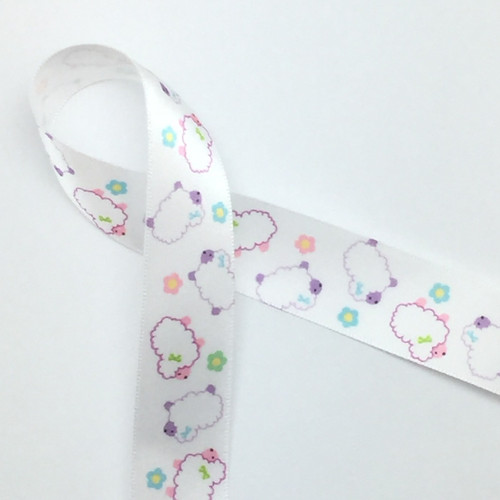 "Our tossed lambs or sheep printed on 7/8"" white satin make a fun addition to a baby shower,  or Easter themed party!"