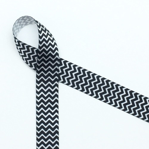 "Black and white micro mini chevron on 5/8"" white single face satin"
