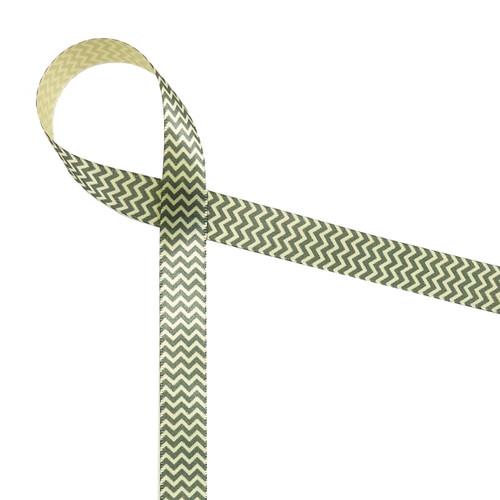"Micro Mini Chevron in gray on light yellow 5/8"" single face satin ribbon"