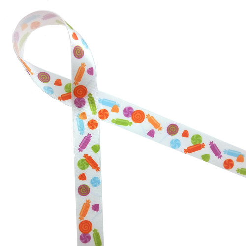 "Tossed candies on 7/8"" white single face satin ribbon"