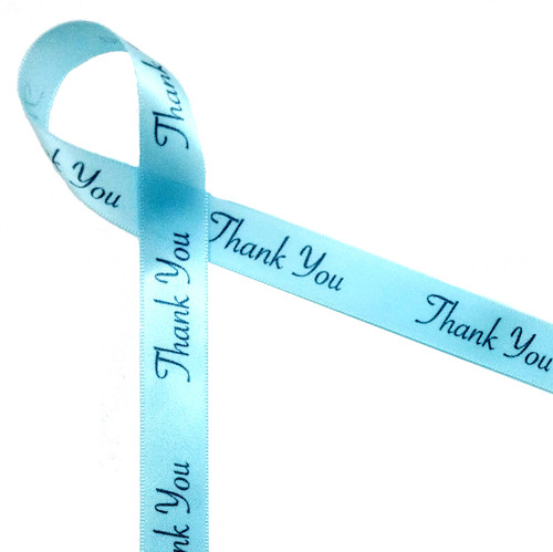 """Thank you in gray ink on light blue single face satin ribbon 5/8"""""""