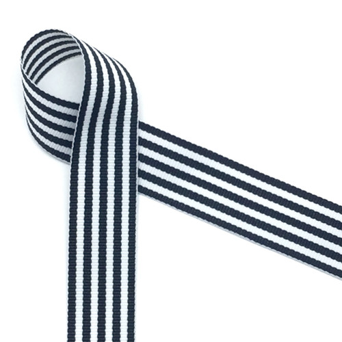 "Navy blue and white woven ribbon in 7/8"" width, 10 yards"