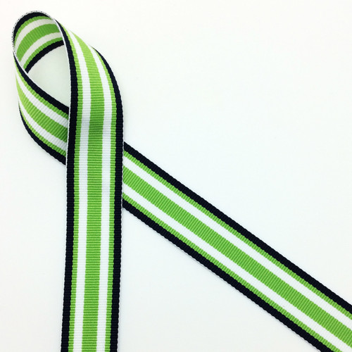 Navy blue, white and lime green stripes woven in grosgrain, 10 yards