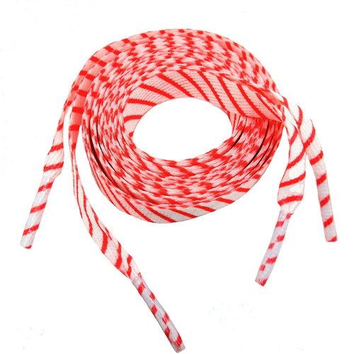 Striped shoelaces in red and white! Perfect for adding some splash to your sneakers!