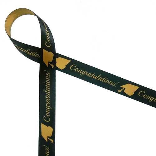 Congratulations to the graduate! Our sophisticated black and gold ribbon with grad hats and Congratulations script is the perfect addition to a gift for someone receiving a Masters or doctorate degree!