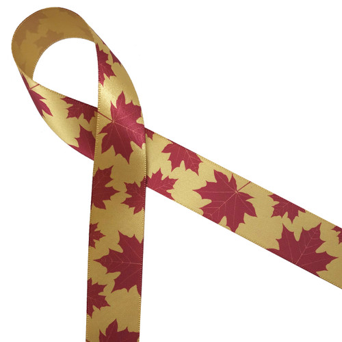 """Maple leaves in red on 7/8"""" dijon gold single face satin ribbon is the ideal expression of Autumn!"""