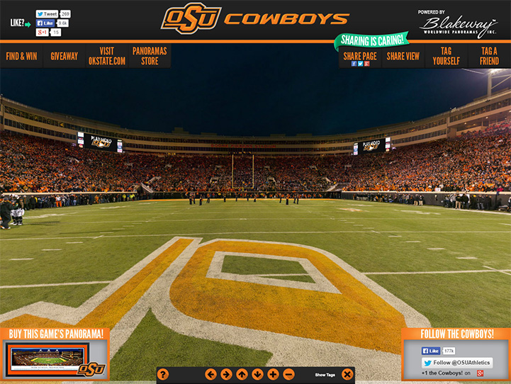 Oklahoma State Cowboys 360 Gigapixel Fan Photo