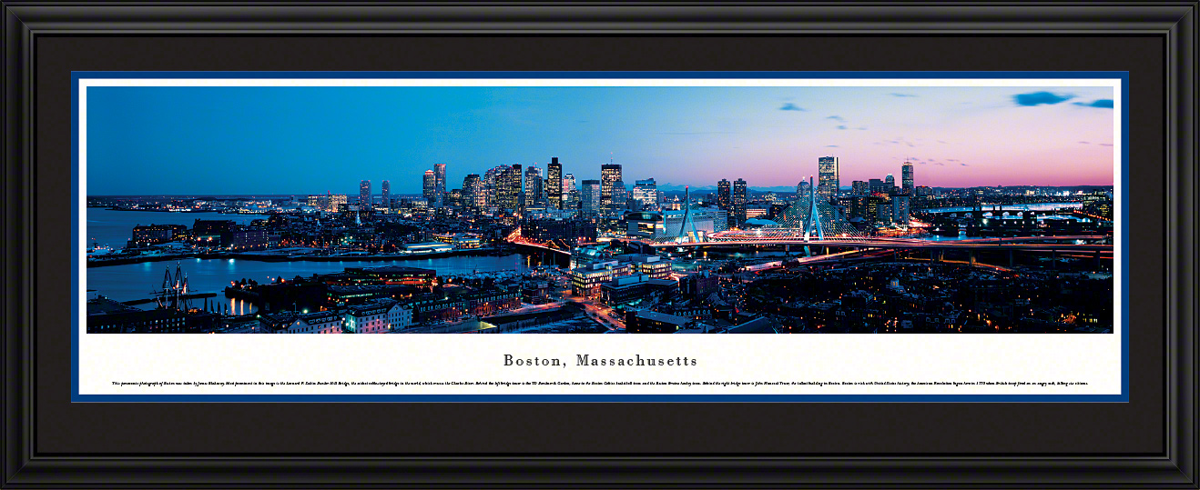 Boston, Massachusetts Panoramic City Skyline Wall Decor