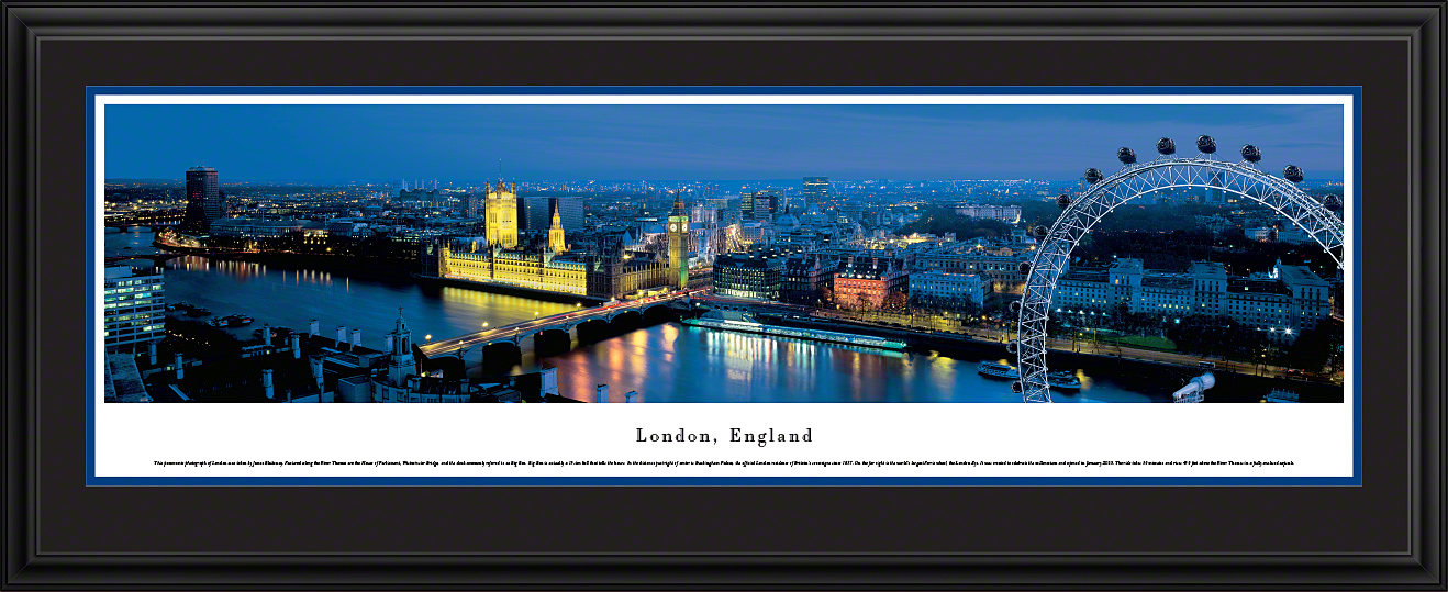 London, England City Skyline Deluxe Framed Panorama