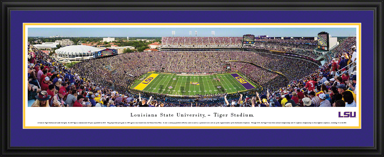 LSU Tigers Football Panoramic Fan Cave Wall Decor - Tiger Stadium Picture