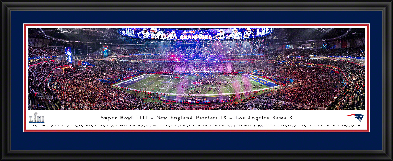 2019 Super Bowl LIII Panoramic Poster Print - New England Patriots Vicotry