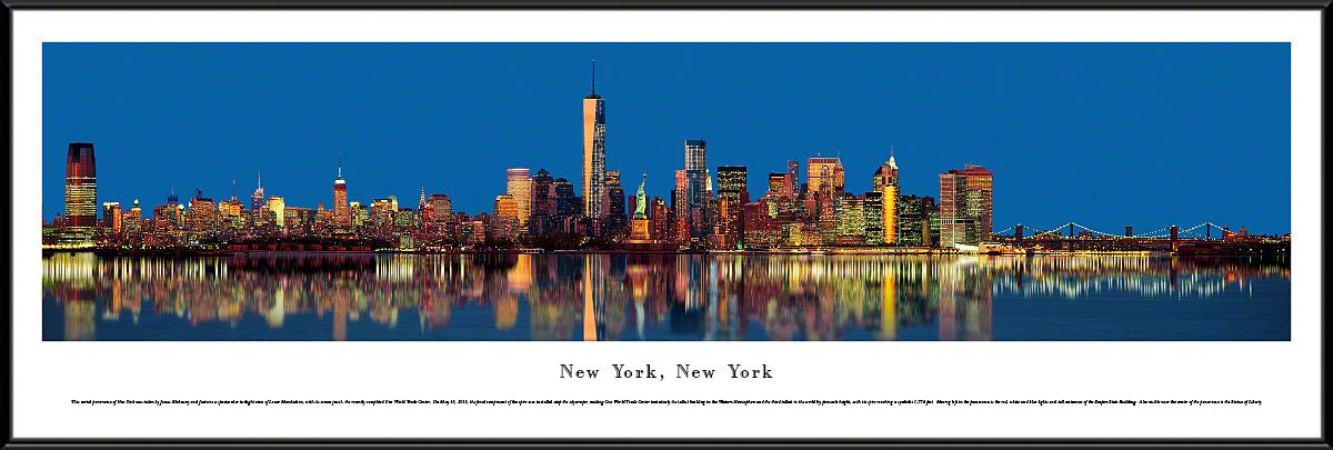 New York City Skyline Twilight Panoramic Wall Decor