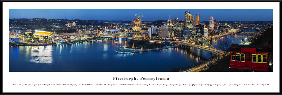 Pittsburgh, Pennsylvania City Skyline Standard Framed Panorama