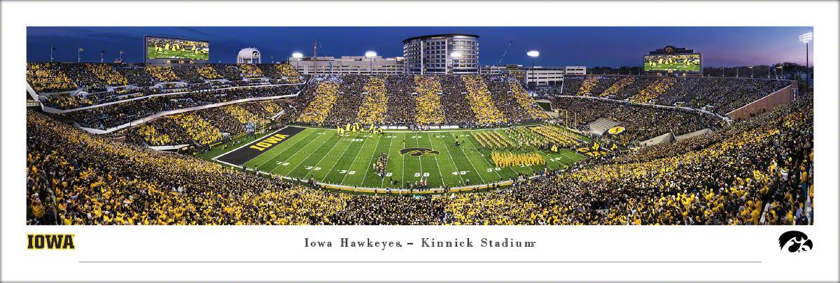 Iowa Hawkeyes Football Panoramic Print - Kinnick Stadium Sunset Wall Decor