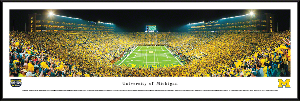 Michigan Wolverines Football Fan Cave Standard Framed Panorama