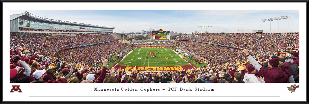 Minnesota Golden Gophers End Zone Panoramic Poster - TCF Bank Stadium Picture