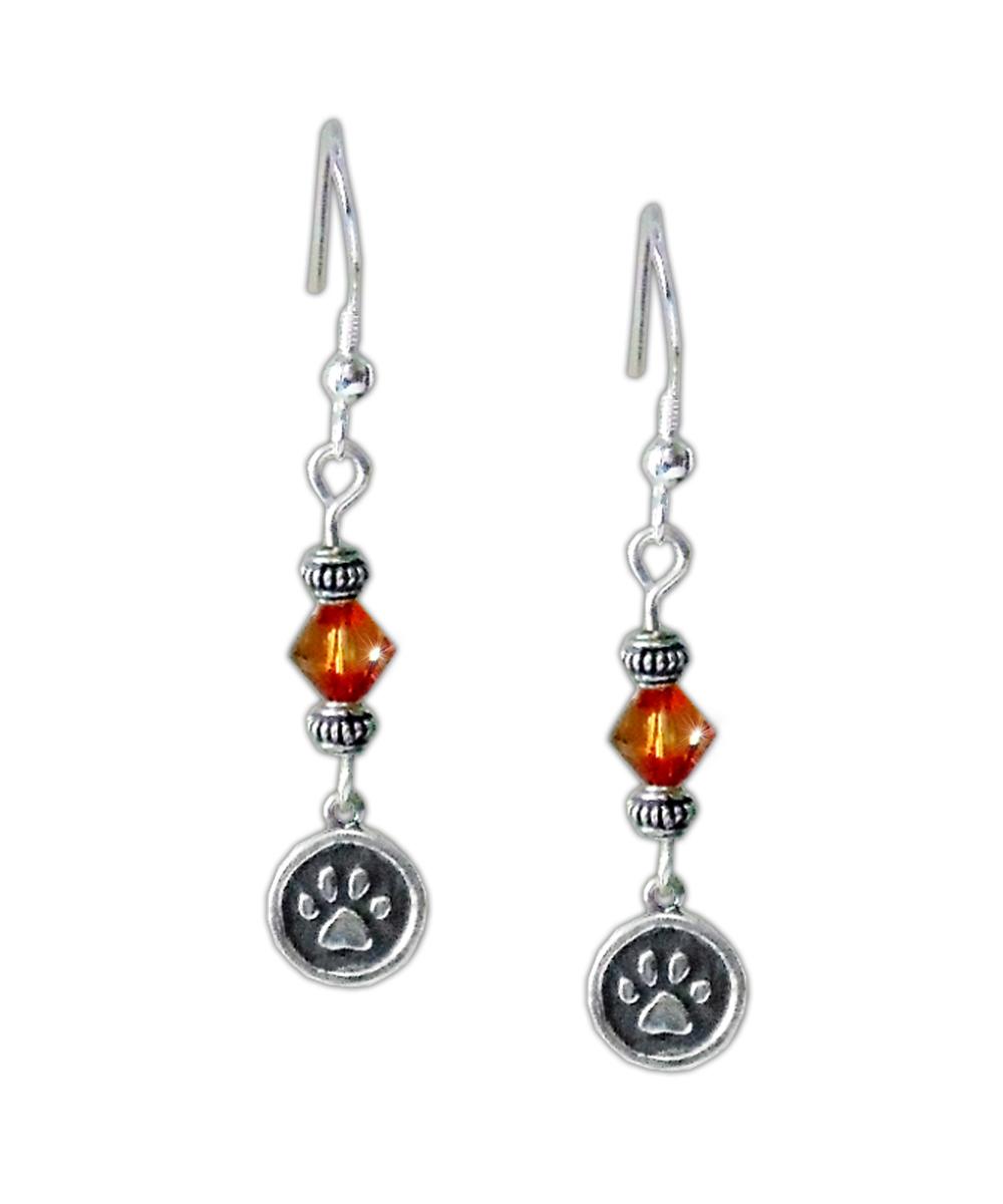 Amber Crystal Paw Print Earrings