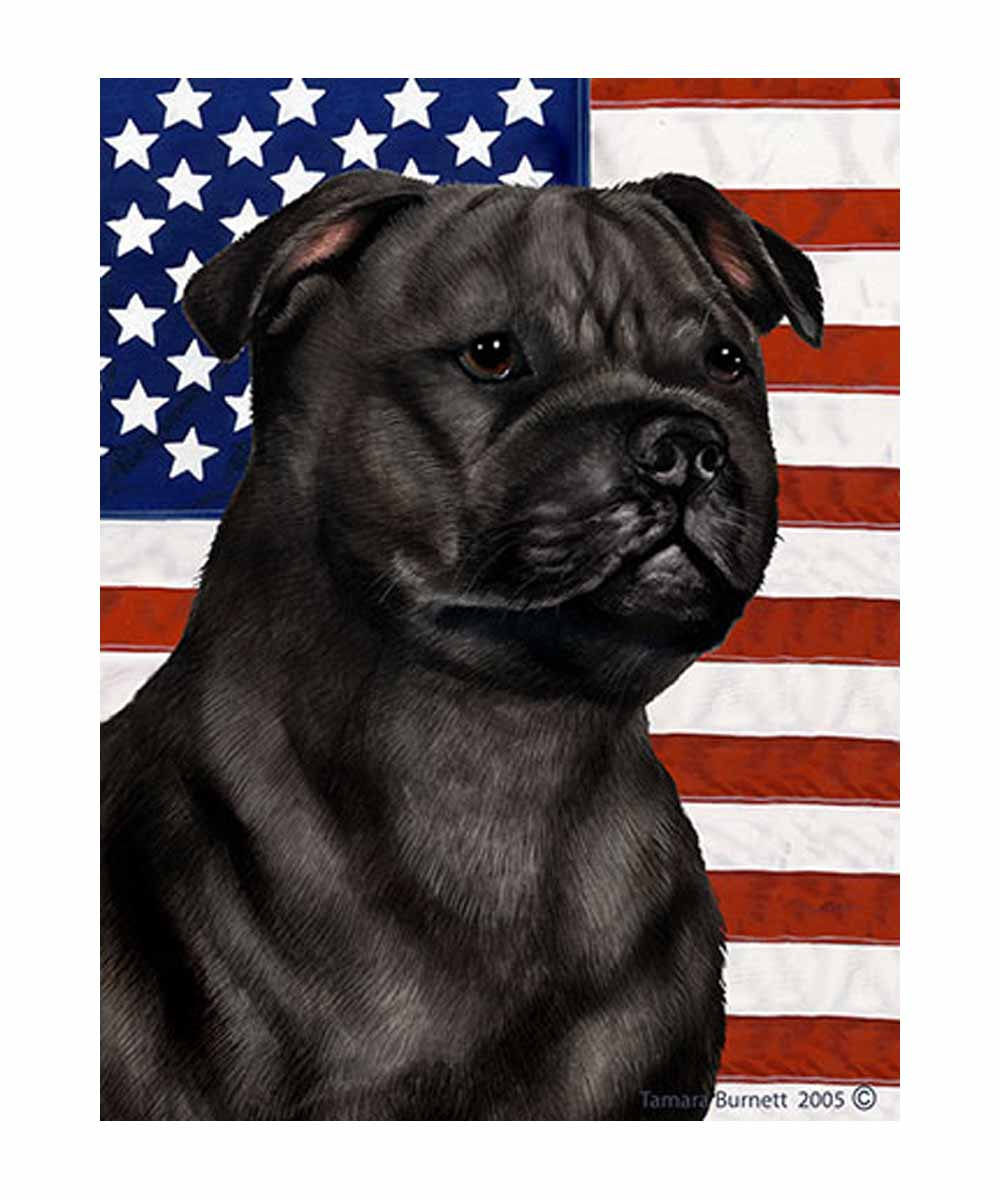 Black Pit Bull and American Flag Garden Flag