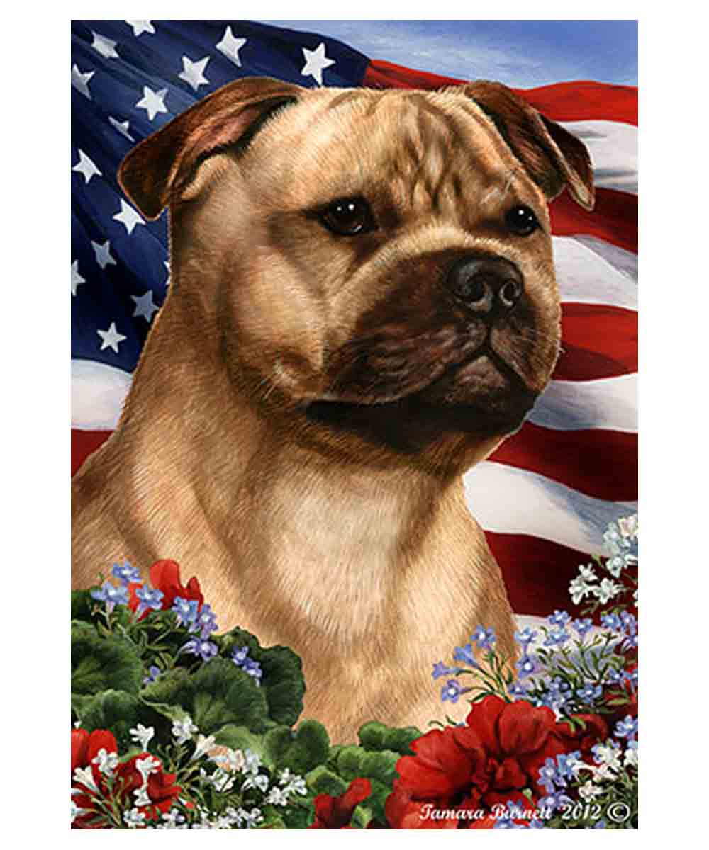 Fawn Pit Bull and American Flag Garden Flag