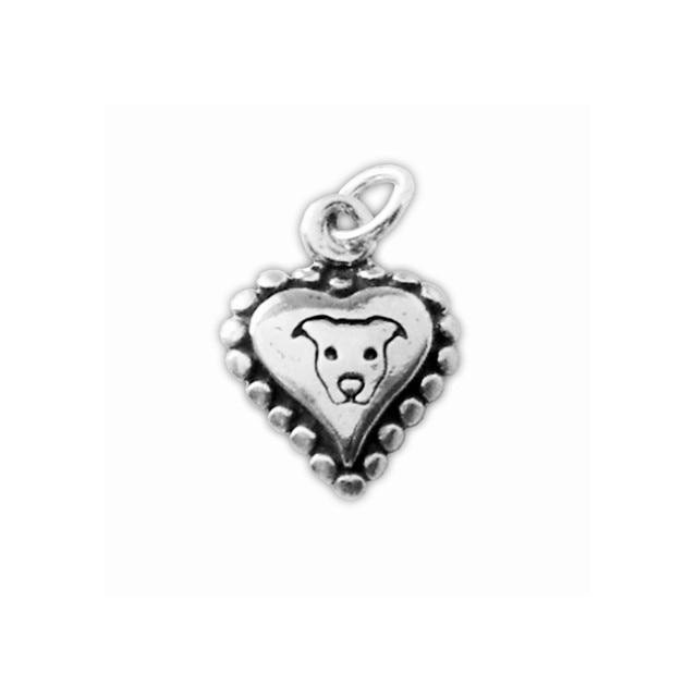 Sterling Silver 3D Pit Bull Heart Charm