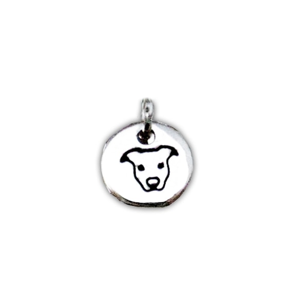 Sterling Silver Small Peaceful Pit Bull Round Charm