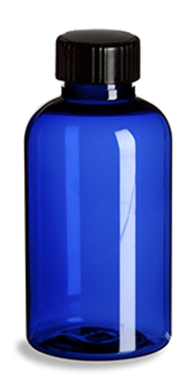 Blue Boston Round Plastic Bottle W Cap 2oz Specialty Bottle