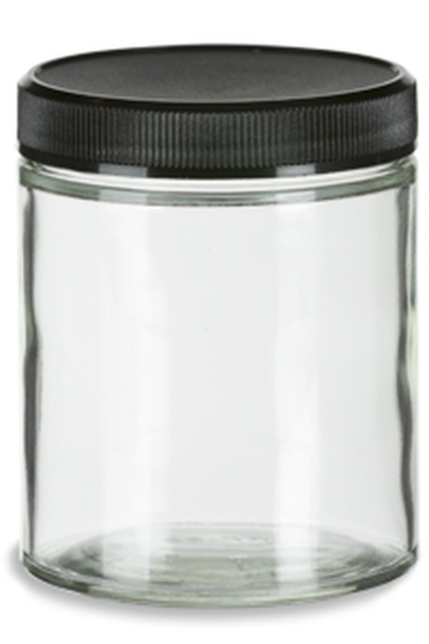 Straight Sided Glass Jar With Black Plastic Lid 6 Oz