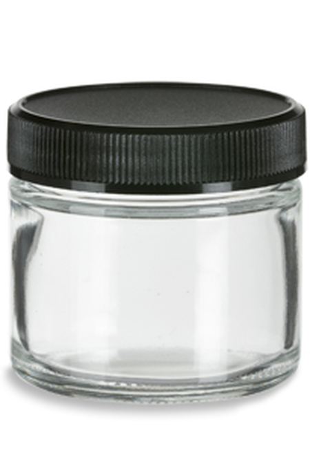 Straight Sided Clear Glass Jar 2 oz w Std Black Lid