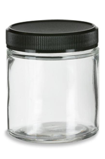 Straight Sided Clear Glass Jar 4 Oz W Std Black Lid