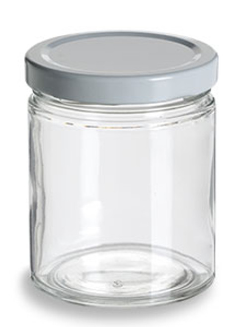 Straight Sided Glass Jar With White Lid 6 Oz Specialty