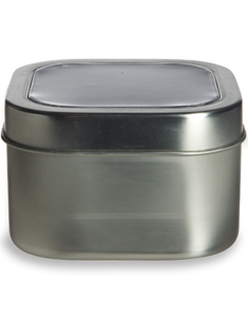 Tin SQUARE Deep Container 8oz w Clear Top Cover