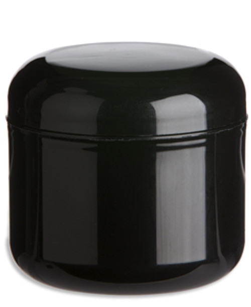 4 Oz Double Wall Black Plastic Jar With Dome Lid