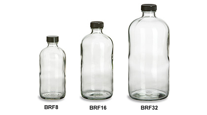 Larger Clear Boston Round Glass Bottles