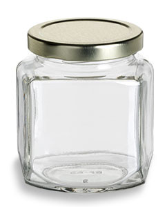 Oval Hexagon Glass Jar 9 Oz 270ml Specialty Bottle