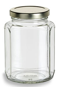 Oval Hexagon Glass Jar 12 Oz 375ml Specialty Bottle