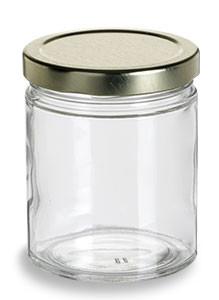 Straight Sided Glass Jar 6 Oz W Gold Lid