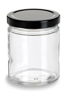 Straight Sided Glass Jar With Black Lid 6 Oz Specialty