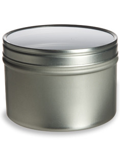 Tin Deep Container 8oz W Clear Top Cover