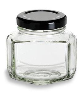 oval hexagon glass jar with black lid 3 oz specialty bottle. Black Bedroom Furniture Sets. Home Design Ideas