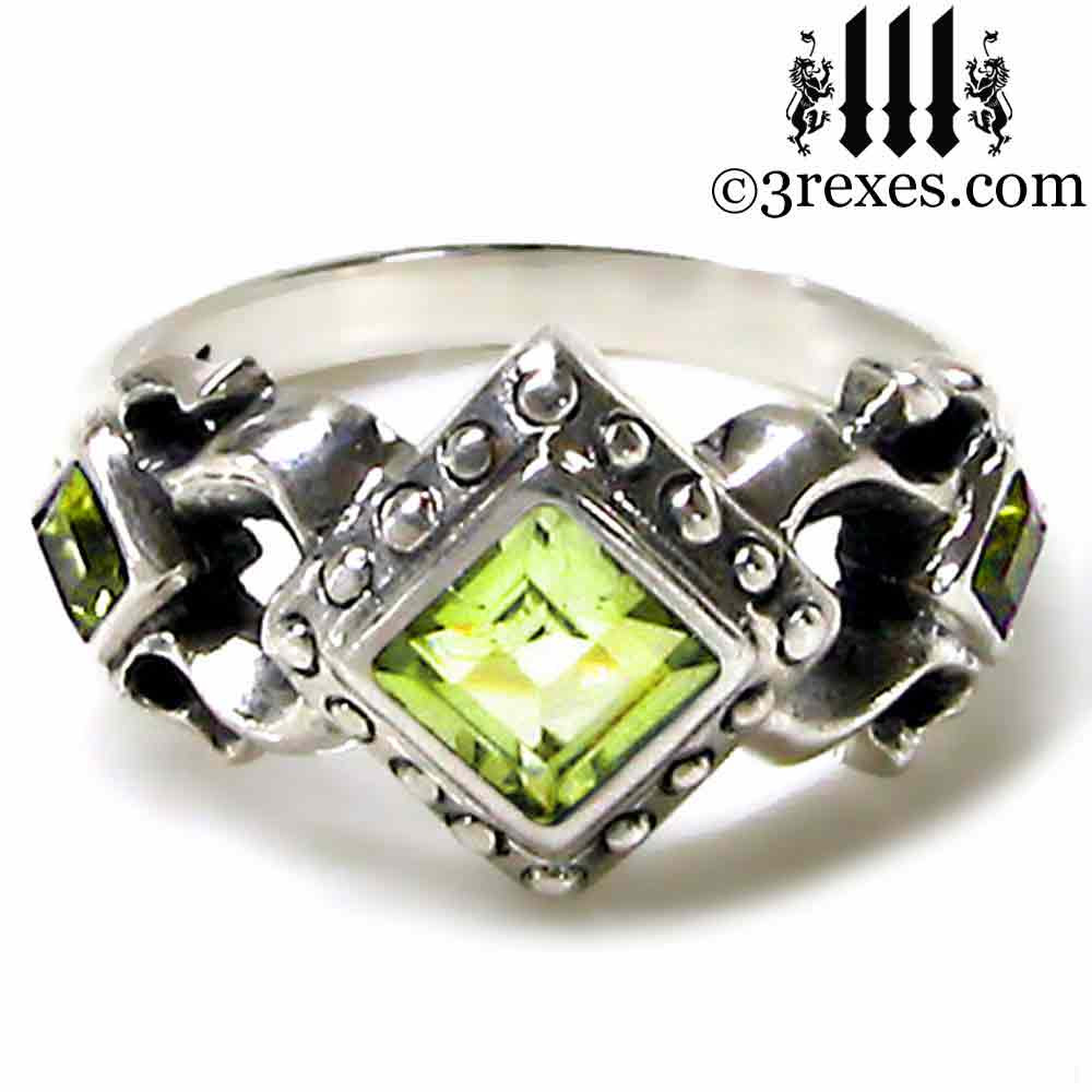 stone ring yellow gold graduated rings peridot wedding image