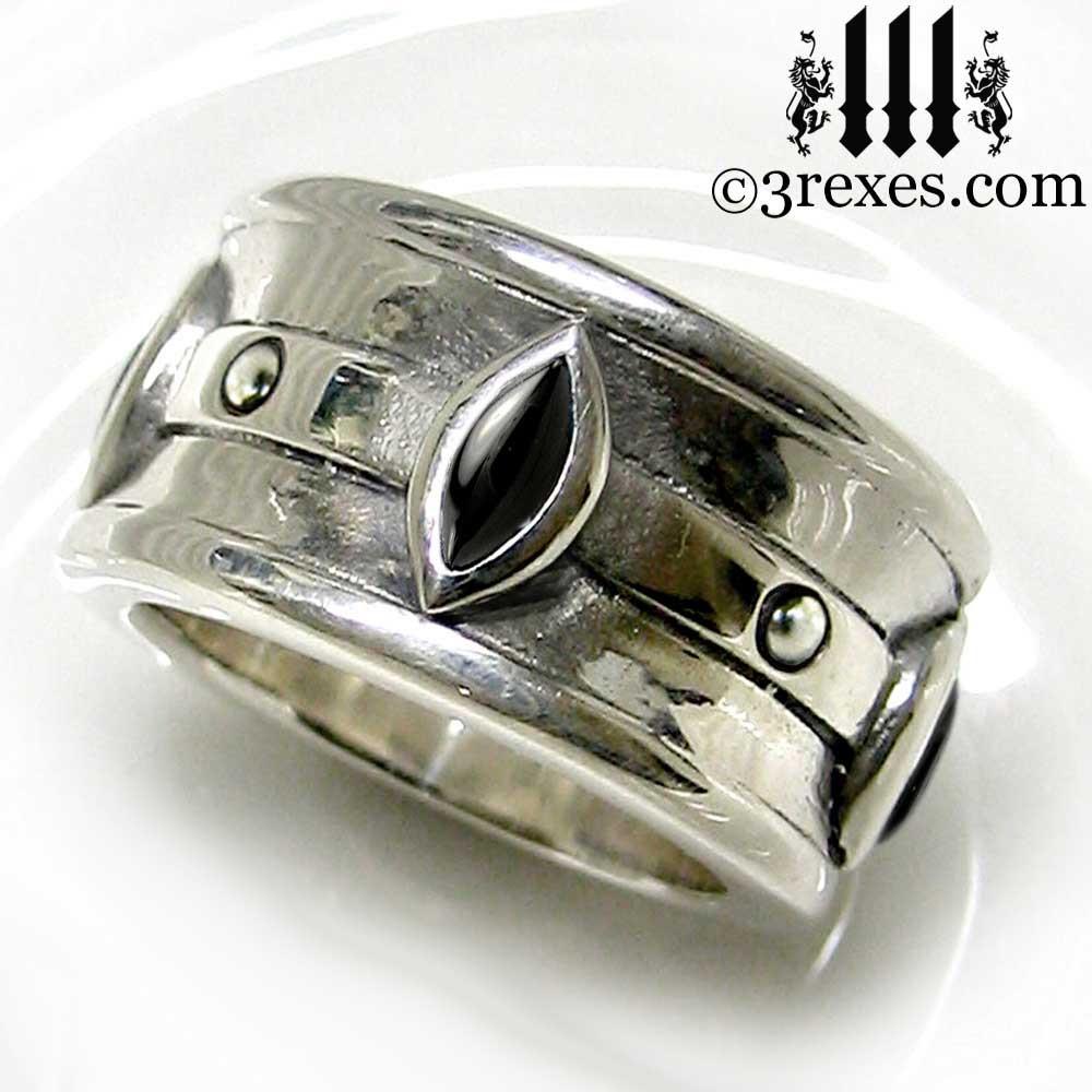 ... Moorish Marquise Gothic Wedding Ring With Black Onyx Stones ...