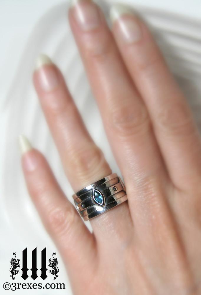 ... Moorish Marquise Gothic Wedding Ring On Womanu0027s Ring Finger ...